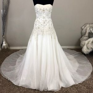Oleg Cassini Strapless Fit-and-Flare Wedding Dress